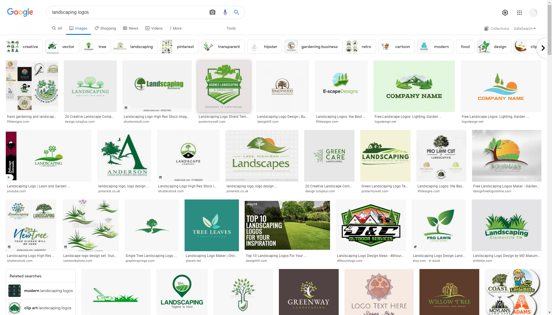 Landscaping logo search results
